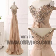 Long Floor Length Off-shoulder Beading Chiffon Prom Dresses, Zipper Prom Dresses, TYP0474