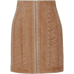 Balmain Lace-up suede mini skirt (13.445.535 IDR) ❤ liked on Polyvore featuring skirts, mini skirts, balmain, bottoms, sand, high waisted skirt, beige skirt, lace up skirt, suede mini skirt and balmain skirt