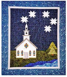 church quilt block pattern | Details about Little White Church Pieced Wall Quilt PATTERN Landscape ...