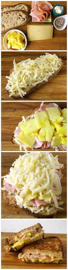GRILLADO HAWAIIANO -  Rebanada de pan integral, bastante queso rallado jamón cocido, trocitos de ananá, más queso, otra rebanada de pan y a grillar !!! ... wwoowwwww !!!!