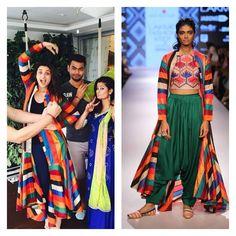 Ramp To Reality: Parineeti Chopra Makes Maxi Jackets A Thing & Karisma Kapoor Stuns In Monochrome New Kurti Designs, Karisma Kapoor, Parineeti Chopra, Celebs, Celebrities, Indian Dresses, Cloths, Monochrome, Sari