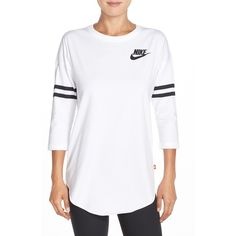 Nike 'Just Do It' Top ($55) ❤ liked on Polyvore featuring tops, stripe top, swimming tops, white swim top, stripe 3/4 sleeve top and 3/4 length sleeve tops
