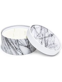 Large Marble Finish 3-wick Scented Jar Candle ❤ Clair de Lune