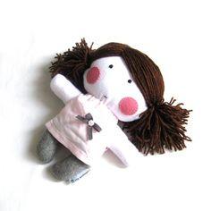 Rag doll toy plushie baby girl kid white grey by meilingerzita, $39.00