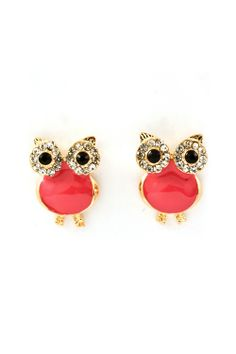 OMG if I would love a pair of earrings exactly like these!!!   Raspberry Crystal Owl Earrings  elfsacks