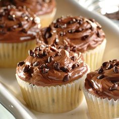 Perfect for taking to school on birthdays, these chocolate Mini Morsel Cupcakes are topped with creamy chocolate frosting and sprinkled with mini chocolate chips.