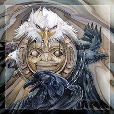 "Love the Haida Moon with Raven & Eagle, 2 Powerful Totems.... ""Two Clans"" by Jody Bergsma"