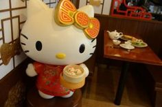 The restaurant is opening this month in Hong Kong and offers an array of food shaped like the iconic cat character. Most of the dishes look like Kitty-chan inspired dim sum, putting a cuted-up spin on Cantonese food. There are also rice and noodle meals.