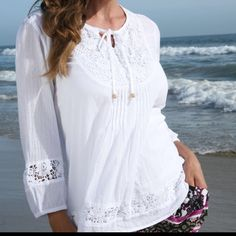 Lace Tunic by Life's A Resort Brand new from Life's A Resort .... 100% cool cotton ... Ideal resortwear or as swimwear cover-up Tops Tunics