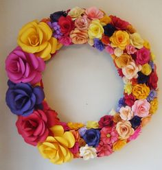Paper Flower Wreath Spring has Sprung  20 Inch Wreath Assorted Paper Roses Mothers Day Gift Anniversary Easter Decoration. via Etsy.