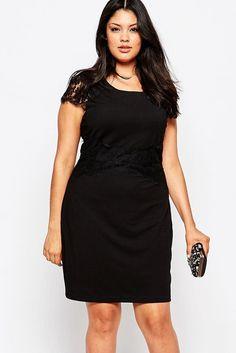 $63 - Black Lace Sleeve Plus Size Dress Sale INSTA FANCI - INSTA FANCI - 1