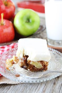 Apple Cake with Cream Cheese Frosting Recipe on twopeasandtheirpod.com Love this easy apple cake! It is the perfect fall dessert! #apple #cake