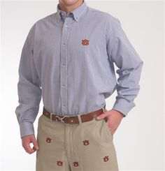 Men's Auburn Seersucker Dress Shirt by Pennington & Bailes.  Buy it @ ReadyGolf.com