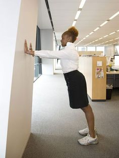 Squeeze in a 25-minute office workout. Try wall push-ups instead of the traditional floor kind.