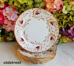 7 Copeland Spode Grosvenor Porcelain Salad Plates ~ Merlin Gold Burgundy Purple #CopelandsGrosvenor