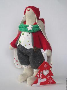 Купить Зайка Том - коралловый, тильда заяц, заяц игрушка, заяц тильда, Заяц в подарок