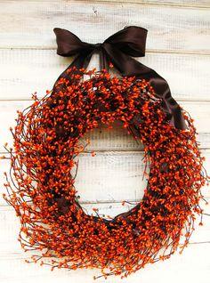 PRIMITIVE FALL HARVEST-Rustic Orange Wreath & Rusty Stars