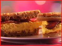 """Hungry Girl's """"Morning Waffle Dip"""" -- Egg substitute, bacon, waffle, and sugar-free syrup! Less than 300 cals."""