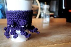 The Grumpy Octopus Coffee Cup Cozy.  This is crocheted, but I'm hoping I can figure out how to knit it at some point.