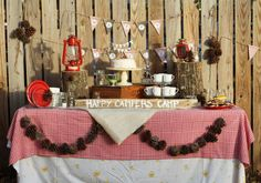 insanely adorable camping themed party with s'mores, hot chocolate and make your own trail mix...great for fall birthdays