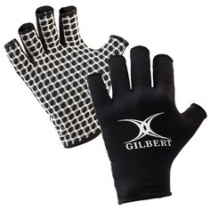 Rugby gloves feature a polyester palm with X grip pattern for reliable catching and a lycra back with side finger panels for comfort.
