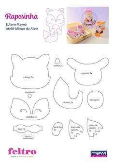 Felt Animal Patterns, Felt Crafts Patterns, Stuffed Animal Patterns, Fox Pattern, Felt Templates, Felt Fox, Needle Felting Tutorials, Felt Fabric, Fabric Dolls
