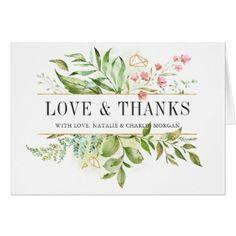 Wild Floral Green Foliage Wedding Photo Thank You Card - elegant wedding gifts diy accessories ideas