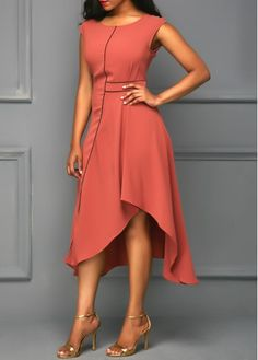 Round Neck Cap Sleeve Asymmetric Hem Brick Red Dress on sale only US$34.42 now, buy cheap Round Neck Cap Sleeve Asymmetric Hem Brick Red Dress at liligal.com