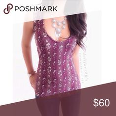 """NWOT Novella Royale Pretty Plum Floral Tank This fitted tank has a very bust flattering cut & a gorgeous floral stripe plum colored print. This gorgeous handmade piece is boho chic at its best{actual color of item may vary slightly from photos}  •shoulders:11.5"""" •chest:15"""" •waist:13.5""""w/stretch •length:24.5""""  Material:90%rayon 10%spandex ️wash cold   Fit:stretchy/fitted for sml  Condition:no rips no stains ✨New without tags✨ ❌no holds ❌no trades ♥️️bundles of 3/more items get 20% off🎊🎊…"""