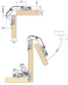 Balama usa franta 35° corp de colt deschidere 65° Danco 54.1B14.B90.20 Furniture Projects, Wood Projects, Furniture Design, Door Design, House Design, Steam Bending Wood, Wood Joints, Kitchen Hardware, Furniture Assembly