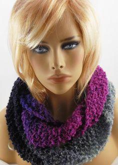 NEW handmade knit COWL INFINITY SCARF, Rainbow Boucle, Black Brights, 65 x 6  #Handmade #CowlInfinity