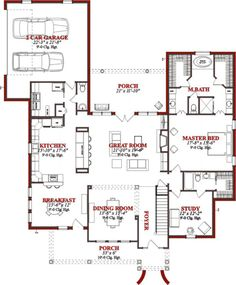 Country Style House Plan - 4 Beds 3.5 Baths 3002 Sq/Ft Plan #63-214 Floor Plan - Main Floor Plan - Houseplans.com