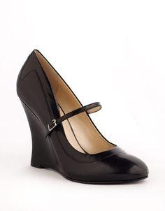 black leather wedge pumps  | Nine West Truthrdare Wedge Pumps in Black (black leather) - Lyst