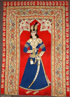 Felted and appliqued wool figural RESCHT WALL HANGING, PERSIA, 1850-1890. Sold at auction in 2010 for 16,800.
