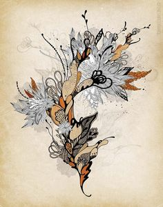 photo travel Floral 1 by Iveta Abolina - Floral Illustration Print Tattoo Fleur, Illustration Blume, Tattoo Illustration, Doodles Zentangles, Floral Illustrations, Watercolor And Ink, Vintage Prints, Doodle Art, Line Art