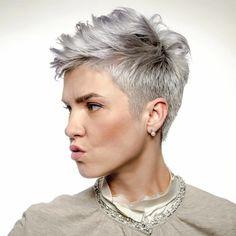 Short Silver Hair, Funky Short Hair, Super Short Hair, Cute Hairstyles For Short Hair, Very Short Pixie Cuts, Grey Hair Hairstyles, Color For Short Hair, Pixie Cut Back, Thick Hair Pixie Cut