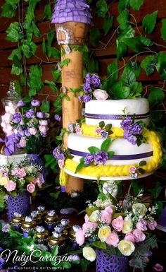 Check out this cake at a Tangled Rapunzel birthday party! See more party ideas at CatchMyParty.com!