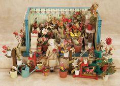 De Kleine Wereld Museum of Lier: 30 Wooden Flower Shop and Various Potted Flowers,Attributed to Gottschalk