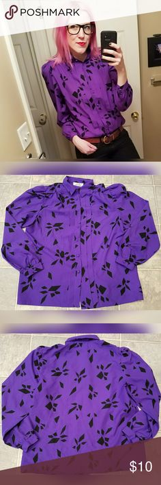 Great, purple, VINTAGE blouse!! Love the color and pattern of this! Brand is EB by Eccobay. No tags for size or material. Material is polyester.  Would fit a S/M. Slight shoulder padding. Missing second button. Was safety pinned when I bought it and worked great. Some wear on back bottom. (See 6th and 7th pics for imperfections). Vintage Tops Blouses