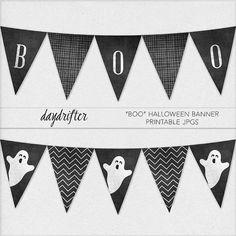 Boo Halloween Triangle Pennant Banner Flags by DaydrifterDigital, $6.00