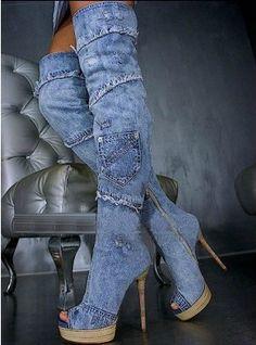 2015 livraison gratuite sur le genou cowboy talon haut bottes peep toe side Zipper plates - formes longue demin bottes pour femme bottillons(China (Mainland))