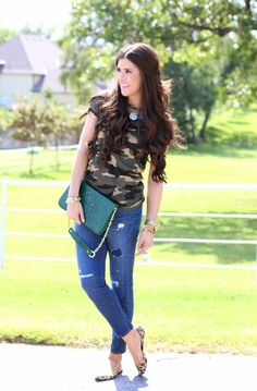 Camo T, distressed denim, leopard flats, gold bracelets and a hunter green bag.