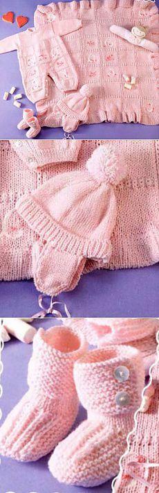 Вязаный комплект для девочки | Вязание спицами и крючком – Азбука вязания