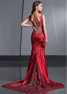 Bridesfamily Modern Tulle & Satin V-neck Neckline Floor-length Mermaid Evening Dresses With Lace Appliques Mermaid Evening Dresses, Prom Dresses, Formal Dresses, Red Mermaid Wedding Dress, Prom Outfits, Sexy Dresses, Evening Gowns, Dress Brukat, Lace Dress