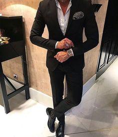 Men fashion black suit