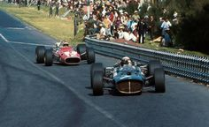 Jonathan Williams following Jackie Stewart at Mexican GP 1967. He finished 8th in a works Ferrari.