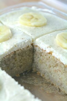 Banana Cake with Vanilla Bean Frosting -A light dessert that is 110% delicious!