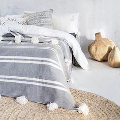Moroccan Pompom Blanket, Pom Poms, Boho Blanket, Bed Cover Grey and White Stripes with White Pompoms - Harvey Clark Cal King Bedding, Twin Xl Bedding, Dark Bedding, Queen Bedding, Bedding Sets, Make Blanket, Linen Bedroom, Master Bedroom, Moroccan Decor