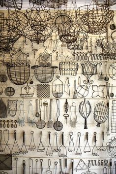 Peter Chelly Gray * Shades of Gray, collections of kitchen wire items, white wall with black wire objects. Vitrine Design, Art Fil, Wire Crafts, Displaying Collections, Collections Of Objects, Shades Of Grey, Vintage World Maps, Sculptures, Wire Art Sculpture