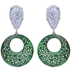 Preowned Paolo Costagli Pear Shape Lavender Jade Round Green Jade... ($6,200) ❤ liked on Polyvore featuring jewelry, earrings, drop earrings, purple, jade drop earrings, 18k diamond earrings, purple earrings, carved jade earrings and diamond drop earrings